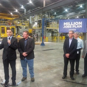 Progressive Conservative leader Tim Hudak with local MPP Rob Milligan and Horizons Plastics President Peter Garvey at the plant in Cobourg. Thanks to Northumberland View for the photo